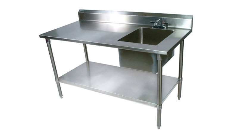 work table with sink industrial kitchen equipments ss work table